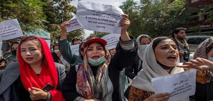 Afghan women's rights activists protest outside Taliban morality police office